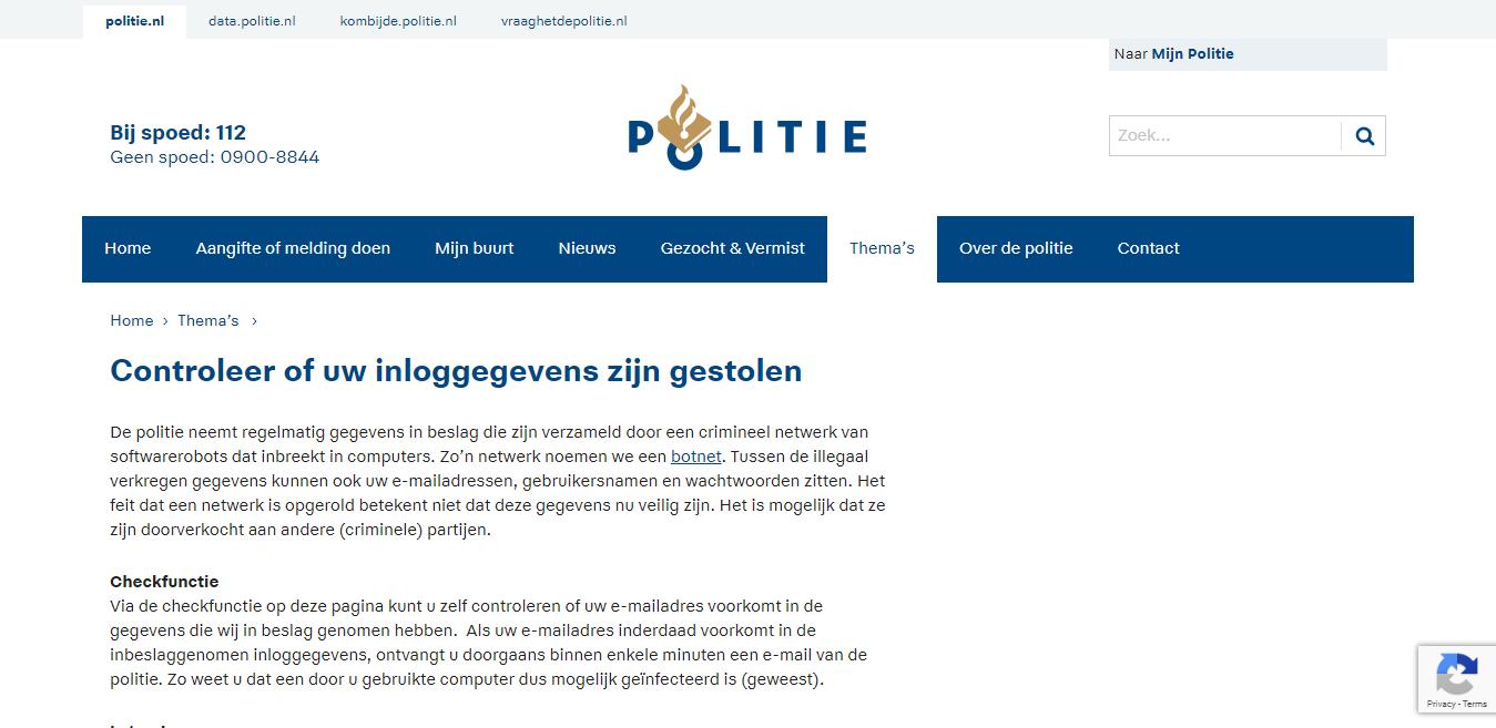 Schermafdruk van website Politie.nl