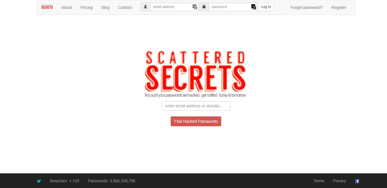 Schermafdruk van website Scattered Secrets
